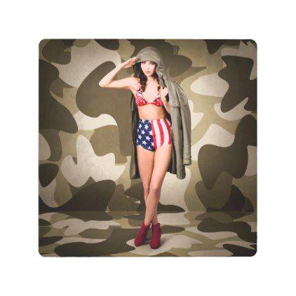 #Posters #Metal #Art - #Retro pinup girl in classic army metal photo print