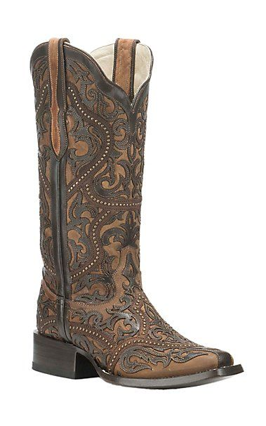 Corral Boot Company Women's Brown with Dark Brown Ornate Print and Stud Details Western Square Toe Boots | Cavender's