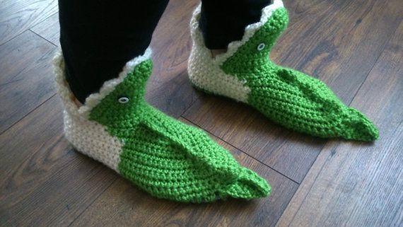 crochet slippers crocodiles by Meluzyna on Etsy