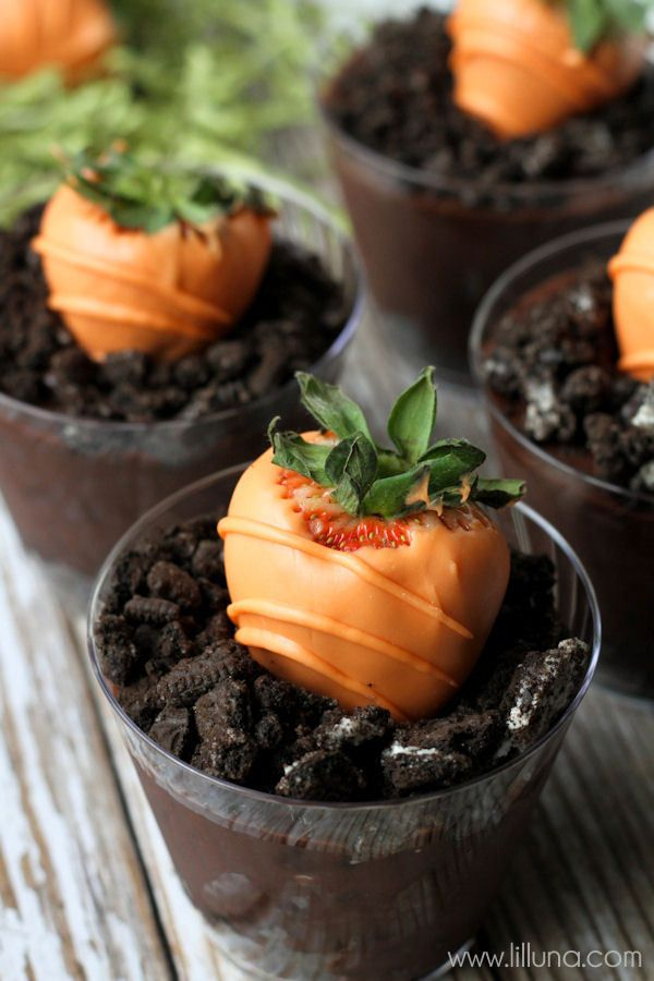 Easter Strawberry 'Carrots' in Oreo Chocolate Pots