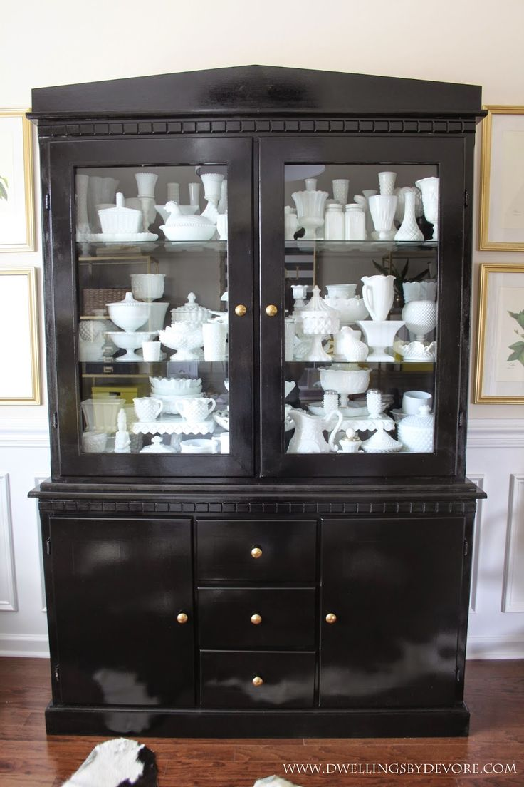 Glossy Black China Cabinet With Milk Glass Collection