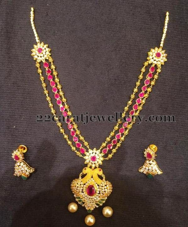 Jewellery designs simple necklace in 3 steps ruby for Simple gold ornaments