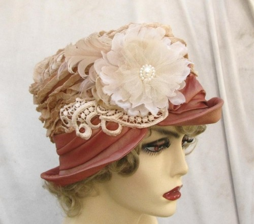 Edwardian Style Hat with Lace and Feathers in Peach