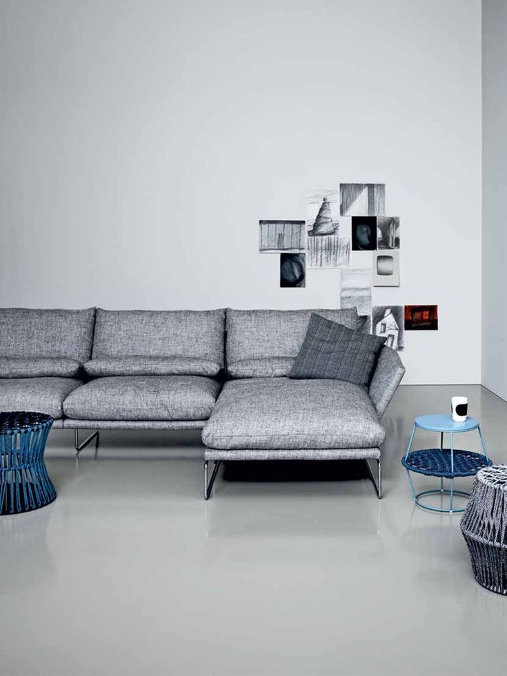 Upholstered sofa with chaise longue new york soft for Chaise longue classic design italia