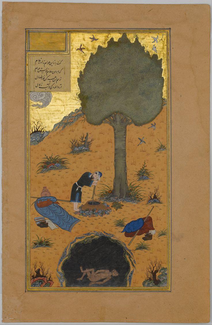 """How a Braggart was Drowned in a Well"",  from a Haft Paikar (Seven Portraits) of the Khamsa (Quintet) of Nizami Author: Nizami (Ilyas Abu Muhammad Nizam al-Din of Ganja) (probably 1141–1217) Calligrapher: Maulana Azhar (d. 1475/76)  ca. 1430  Herat"
