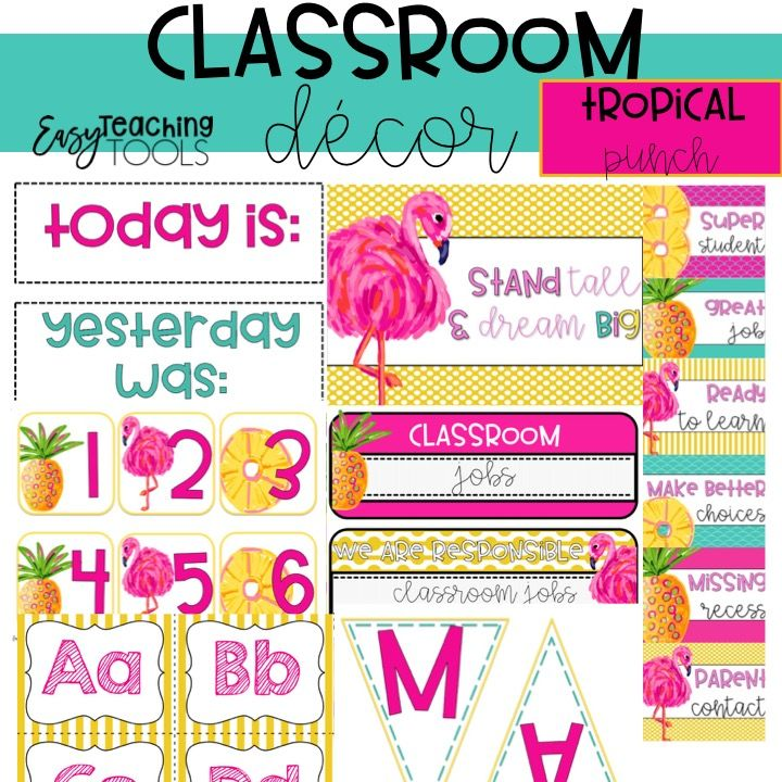 This editable tropical decor is perfect for any classroom.  It includes editable labels, clip chart, classroom name tags, alphabet posters, and more!