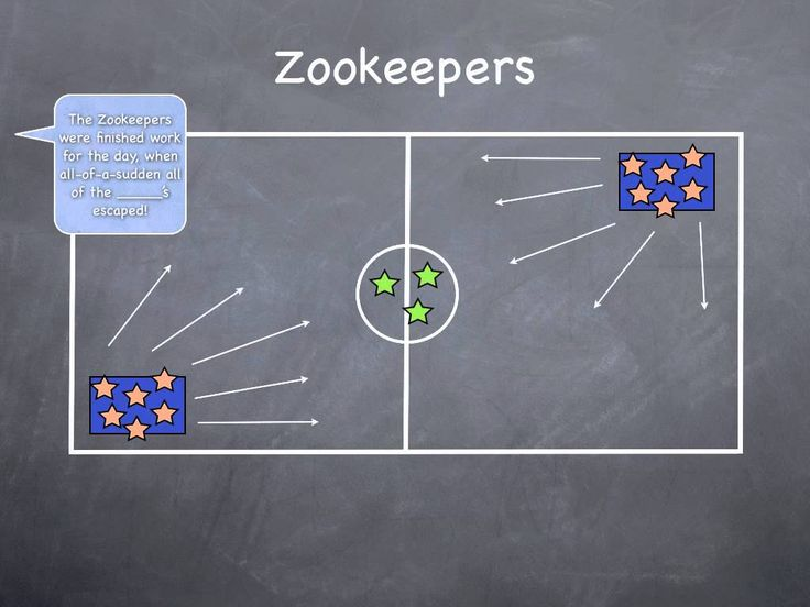 """Zookeepers- 2-4 people are the zoo keepers, remaining players are split between 2 """"cages"""" (mats or a clearly designated space), all players in cages must chose a zoo animal, caller calls out """"the zookeepers were finally finished with their work for the day when suddenly the __(ex. Monkeys)__ escaped!"""" the selected animal types must escape their cages & act like their animal, zookeepers tag the animals to send them back to their cages, once all are returned to their cages the next round…"""