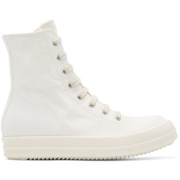 Rick Owens Drkshdw White Canvas Murray High-Top Sneakers (3.590 RON) ❤ liked on Polyvore featuring shoes, sneakers, canvas lace up sneakers, canvas shoes, high top canvas shoes, zipper sneakers and white high top sneakers