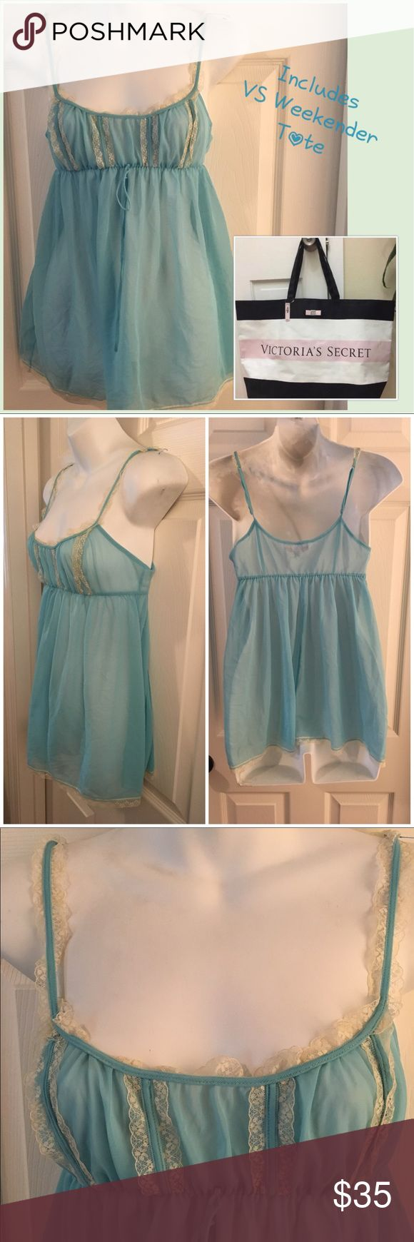 "Vintage Style Baby Blue VS Babydoll & VS Tote Bag Vintage Style Baby Blue Victoria's Secret Chemise Nightie. Size XS. Semi sheer soft polyester trimmed in white lace. Excellent condition with no flaws to note. Adjustable straps. Includes a HUGE NWT VS Weekender Bag! Without handles it measures 25 x 15.5 x 7"". It is heavy duty canvas- plastic coated on the inside, so perfect for the beach or pool. Victoria's Secret Intimates & Sleepwear Chemises & Slips"