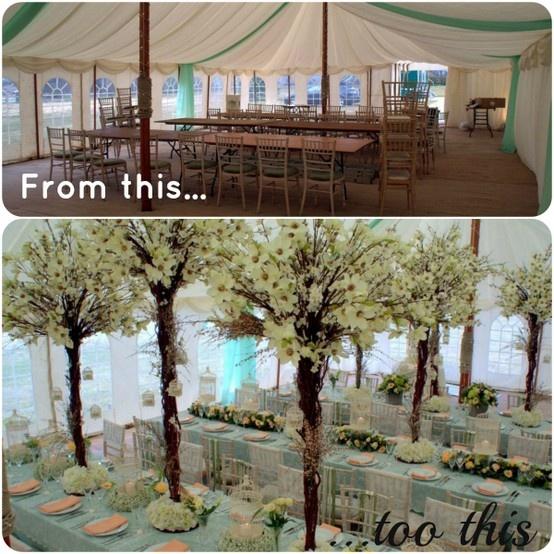 Marquee wedding transformation! Peach & Green wedding www.whitecrafts.com