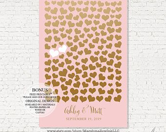 Guest Book Alternative Bridal Shower Gift Wedding Gift, Wedding Guest Book Canvas Faux Gold & Pink Guest Book Sweetheart Guest Book Poster