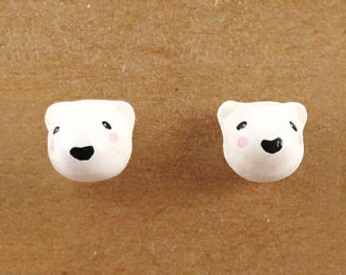Oso kawaii oso polar pendiente, pendiente animales de la arcilla de polímero, lindo animal joyas, joyería, regalo de cumpleaños, regalo