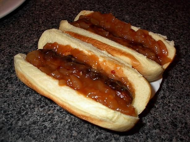 Sabrett s Onion Sauce for Hot Dogs from Food.com:   Use less water..... about 3 cups.  Sugar instead of syrup, and finish with a little brown sugar toward the end.								Posted in response to a request, this recipe is supposed to be a copycat for the sauce served on Sabrett hog dogs, one of the more popular street hot dogs in New York.
