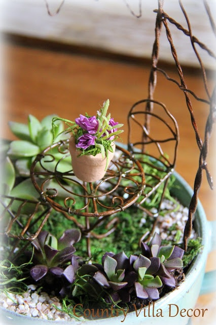 COUNTRY VILLA DECOR  Succulent Mini Gardens   Jeremie bistro set and tiny  pot. 77 best images about Mini Garden Furniture on Pinterest   Vines