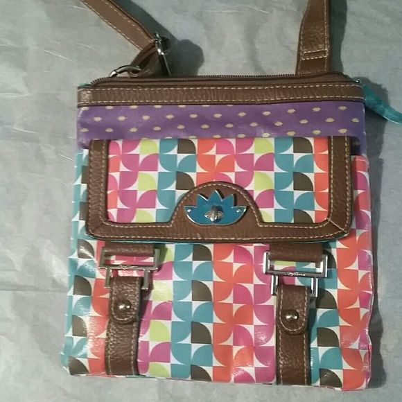 """Lily Bloom cross body bag Very cute bag worth bright colors. Outside pocket and internal zipper pocket 8.5"""" wide and 8.5"""" tall lily Bloom  Bags Crossbody Bags"""