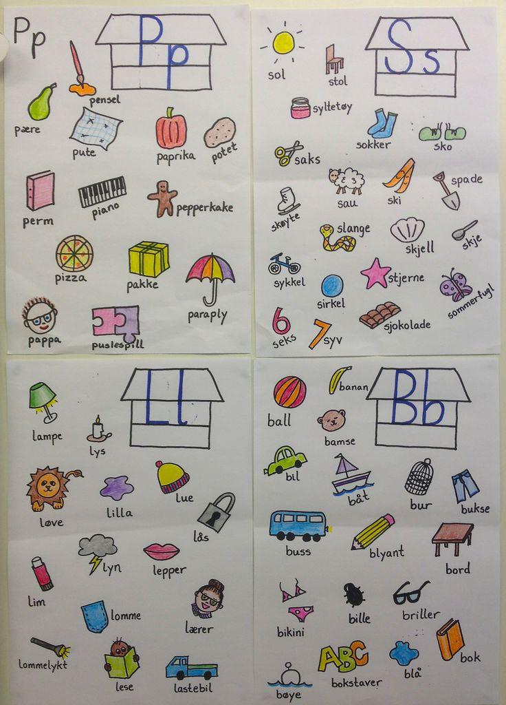 PY 1 Uke 14: Bokstav-veggen vår begynner å ta form:) I tillegg til å lage storbøker med elevenes samling av ord som starter med ukas lyd, lager vi en stor bokstav-vegg! Her er en samling av elevenes ord fra P, S, L og B!