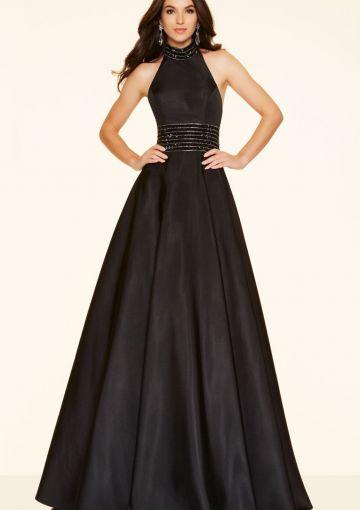 Cheap and Australia 2016 Black A-line Halter Neckline Beaded Satin Floor Length Evening Dress/ Prom Dresses 98069 from Dresses4Australia.com.au