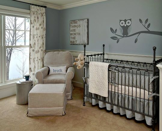 """Nursery Ideas For Baby Boys. I love everything about this room! """"Some things are worth the wait""""."""