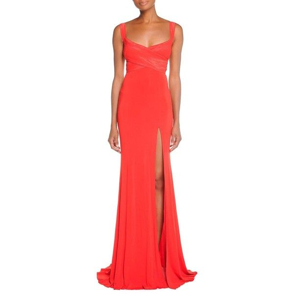 Donna Karan Cross-Front Exposed-Back Gown (4,235 AED) ❤ liked on Polyvore featuring dresses, gowns, flame red, red evening gowns, red slit dress, red evening dresses, a line ball gown and red gown