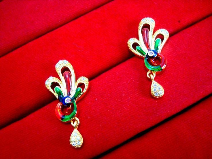 Daphne New Designer Golden Peacock Meenakari Earrings