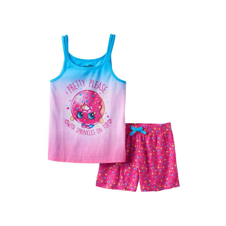 """Girls 4-12 Shopkins D'Lish Donut """"Pretty Please With Sprinkles On Top"""" Pajama Set, Girl's, Size: 6-6X, Pink"""