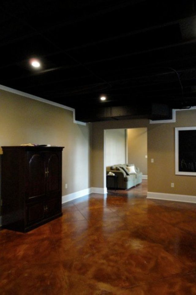 Stained Concrete Sprayed Black Ceiling Basement