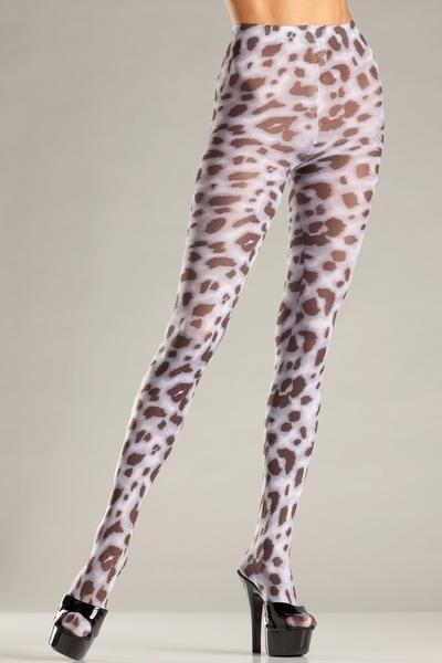 Sheer animal print pantyhose. Black and white 92% Nylon, 8% Spandex Woven