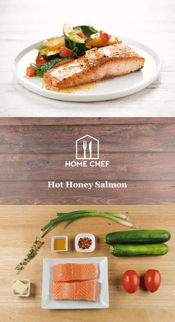 Hot Honey Salmon with thyme-roasted zucchini and tomatoes:  Prep & Cook Time: 25-35 min. Difficulty Level: Easy    Spice Level: Medium