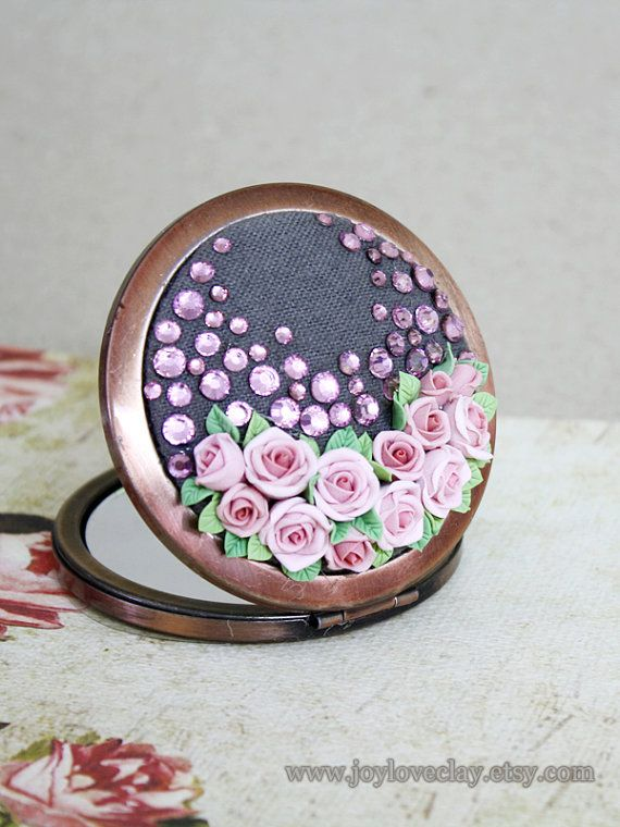 Personalized Compact Mirror, Beautiful vintage design pocket mirror, polymer flower, make up mirror