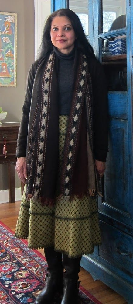 Cynthia Steffe wool blend skirt with charcoal merino wool turtleneck and espresso merino wool cardi, both from Uniqlo, wool scarf from India and espresso Timberland boots - 2018