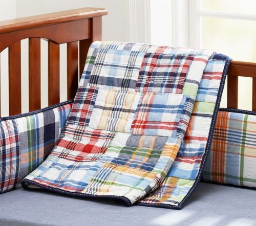 Pottery Barn Kids Madras Crib Bumper Toddler Quilt Skirt