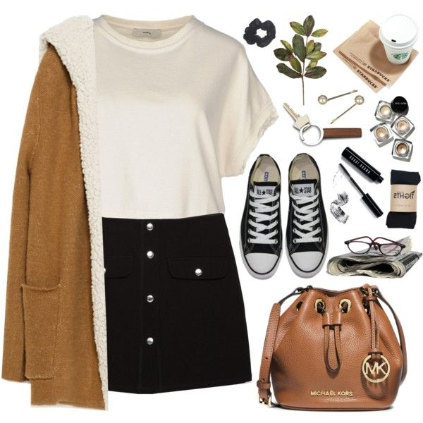 2075. School by chocolatepumma on Polyvore featuring Diesel, Zara, Converse…
