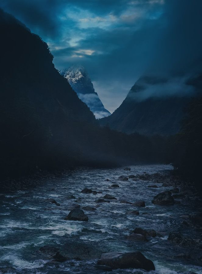 I woke up in the morning before everyone else to go on an extended scouting mission. I arrived around this river just as the morning mists were lifting enough to give me a view into the distance. - Milford Sound, New Zealand - Photo from #treyratcliff Trey Ratcliff at http://www.stuckincustoms.com/