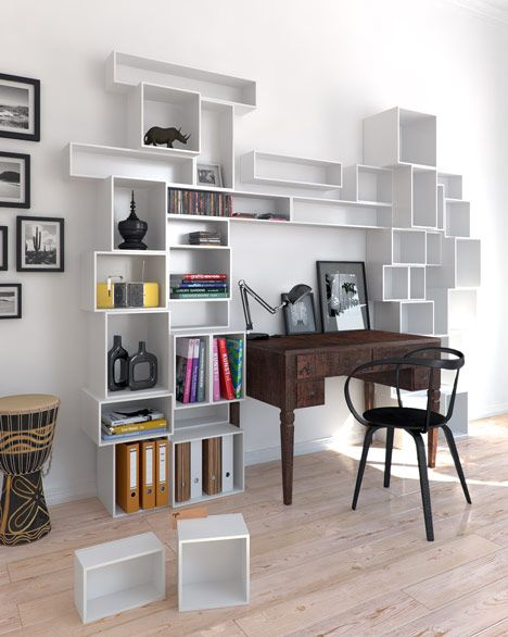 Dezeen promotion: the Cubit modular shelving system is specifically designed for the standard dimensions of music and books.