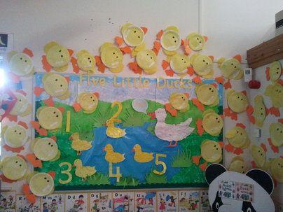 Five Little Ducks Display, classroom display, class display, Nursery Rhyme, rhymes, nursery, story, counting, Early Years (EYFS), KS1&KS2 Primary Resources
