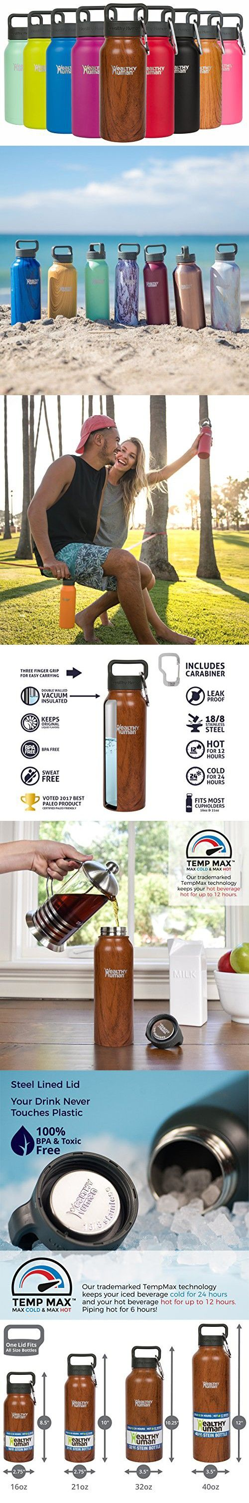 Healthy Human Stainless Steel Insulated Water Bottle Thermos - BPA Free Cap with Hydro Guide & Carabiner Set - Harvest Maple - 16 oz