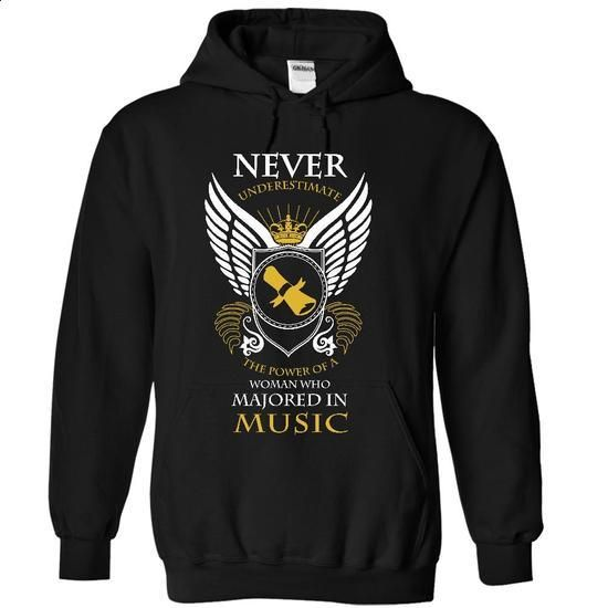Never Underestimate - Music Major - #zip up hoodies #t shirt designs. PURCHASE NOW => https://www.sunfrog.com/LifeStyle/Never-Underestimate--Music-Major-2109-Black-17862325-Hoodie.html?60505