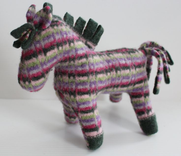 Stuffed horse: striped repurposed wool sweater, plush horse, waldorf horse, horse toy, soft-sculpture horse by Woolopoly on Etsy