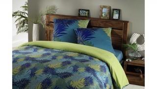 Maisons du Monde - Parure de lit 220x240cm en coton bleu/vert TROPICAL (119,90€)