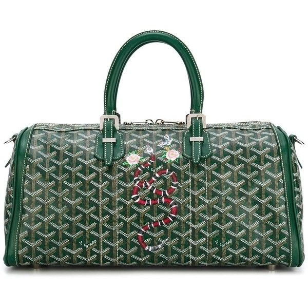 Goyard Vintage 'Croisiere' tote (28,585 CNY) ❤ liked on Polyvore featuring bags, handbags, tote bags, green, green leather tote bag, leather handbag tote, vintage leather tote bag, goyard tote and leather tote