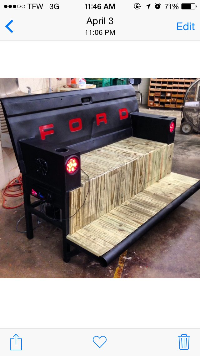 Ford Tailgate Bench With Radio 2 Speakers And Tail Lights