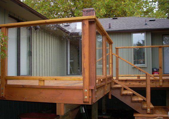 glass deck railing | cedar deck with safety glass railing