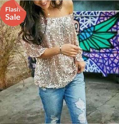 Spaky Long Sleeve Off shoulder Blouse