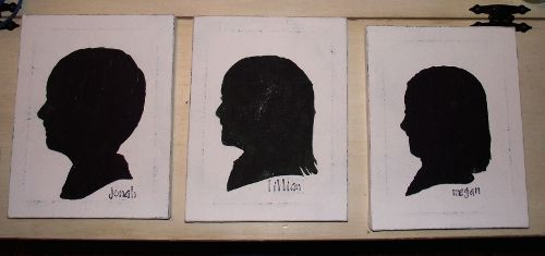 Silhouette Canvases.  I remember when my kindergarten teacher did this of each student for a mothers day gift or something like that.
