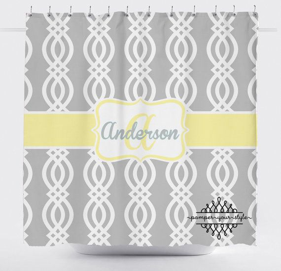 Trellis Shower Curtain  Yellow and Gray Shower by PAMPERYOURSTYLE