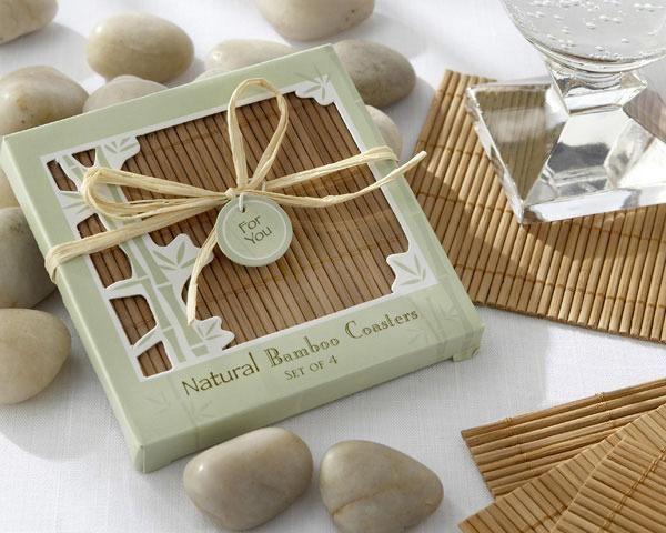 Natural Bamboo Eco-Friendly Coaster Favor (Set of 4)