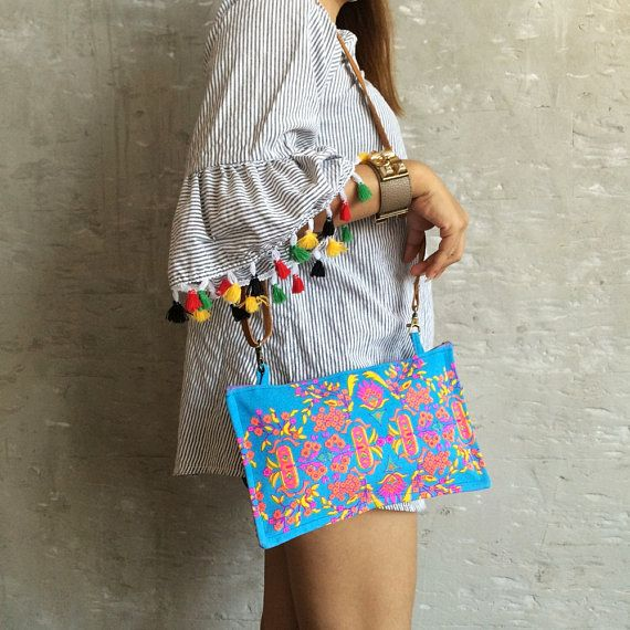 Cross body Hippie bag Colorful Neon Painted Bag make you happy. hope you like vivid color and sturdy durable of this bag with good quality leather strapping for your weekender Feature: 1 top zipper closure  Measurements: Wide: 10.5 Hight : 6 Strap: 20 Payment: I accept only Paypal payment.   Shipment: We ship to your Address on Etsy via Thai air-mail from Thailand by registered mail with Tracking number and delivery take time 2 to 4 weeks to reach you.   Thank You ♥