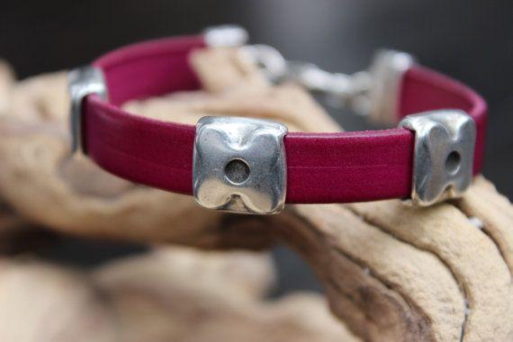 Dark Fuchsia 10mm Flat Leather Bracelet by PepperPotLeatherShop, $35.99