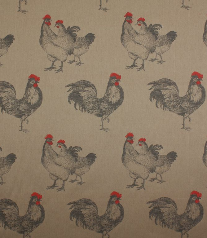 This chicken fabric depicts large roosters in a lovely neautral shade with pops of bright red. Makes fantastic curtains, especially in a country kitchen or dining room. Also suitable for roman blinds. Buy online or visit one of our extensive curtain fabric shops in Cheltenham, Gloucestershire or Burford, Oxfordshire.