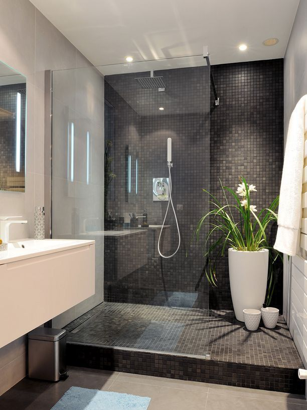 Champagne Hardware And Dark Grey Countertop Bathrooms Remodel Bathroom Shower Tile Luxury Bathroom